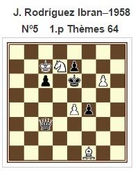 Estudio artístico de ajedrez de J. Rodríguez Ibrán, 1958