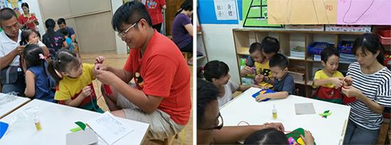 爸媽一起出動分享教養方式、生活經驗。親子DIY共同製作桌墊,還有爸爸細心穿線,散發父愛光芒!