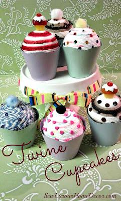 DIY Twine Cupcakes at sewlicioushomedecor.com