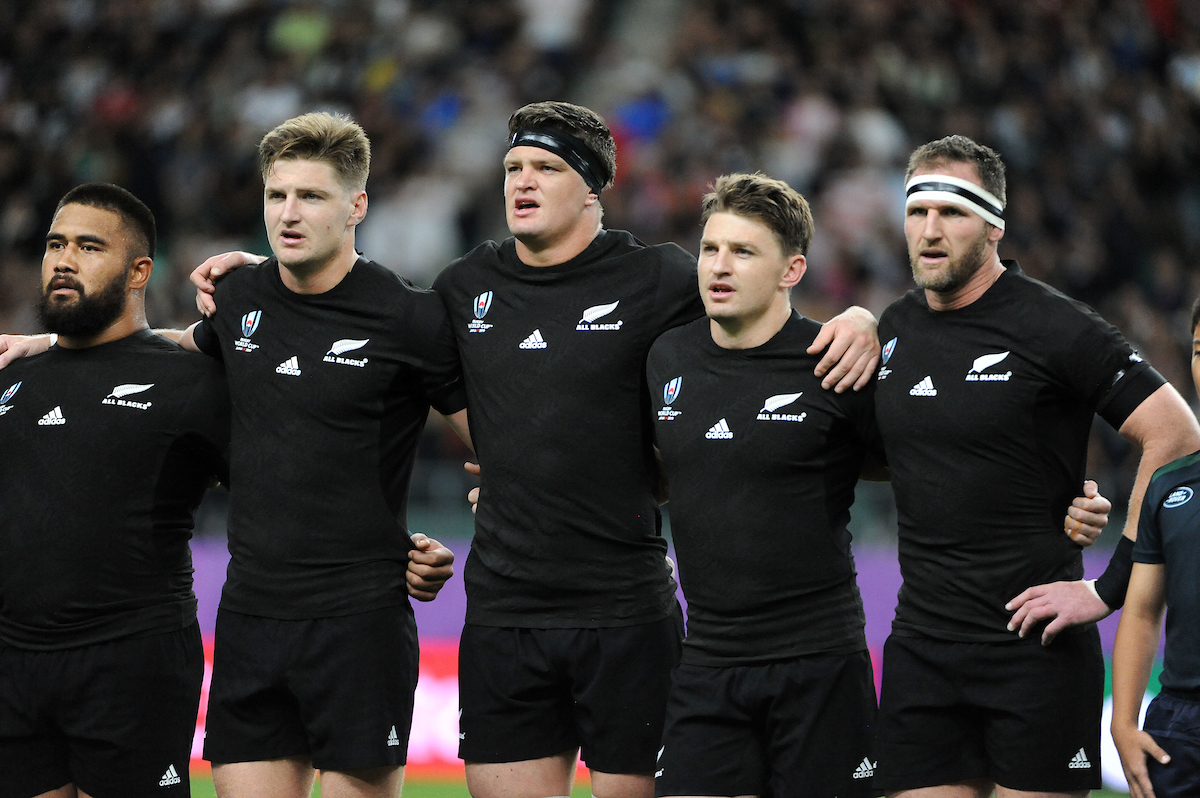 Nepo Laulala, Jordie Barrett, Scott Barrett, Beauden Barrett and Kieran Reid - captain - New Zealand players line up for the national anthem.