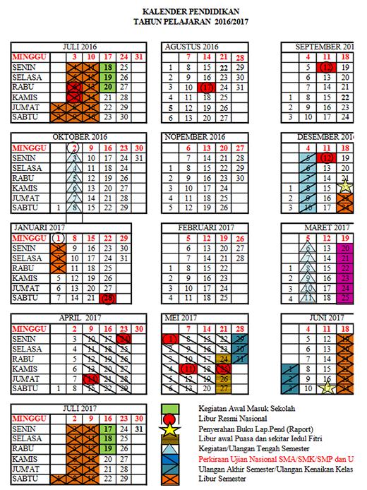 Kalender Pendidikan 2016/2017 Serta Rencana Minggu Efektif dan Hari ...