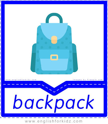 Backpack - clothes and accessories flashcards