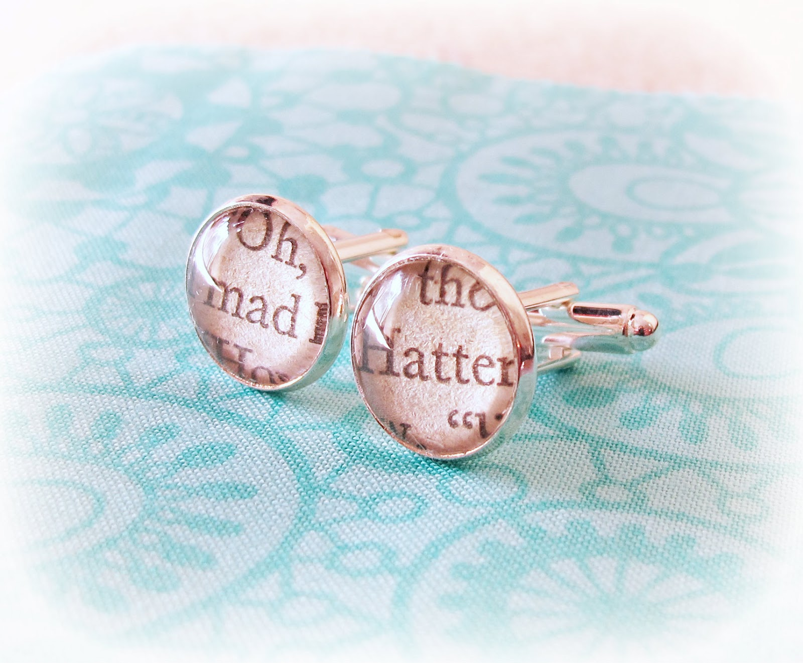 image mad hatter cufflinks book text upcycled vintage two cheeky monkeys alice in wonderland