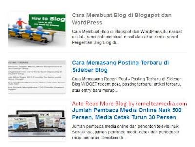 Cara Membuat Auto Readmore - Meringkas Tulisan Halaman Depan Blog.