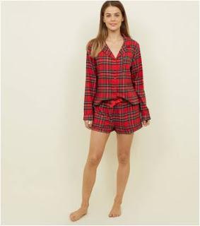 Red Tartan Shirt and Shorts Pyjama Set