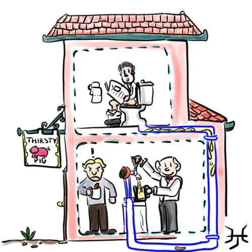 toilet and beer cartoon