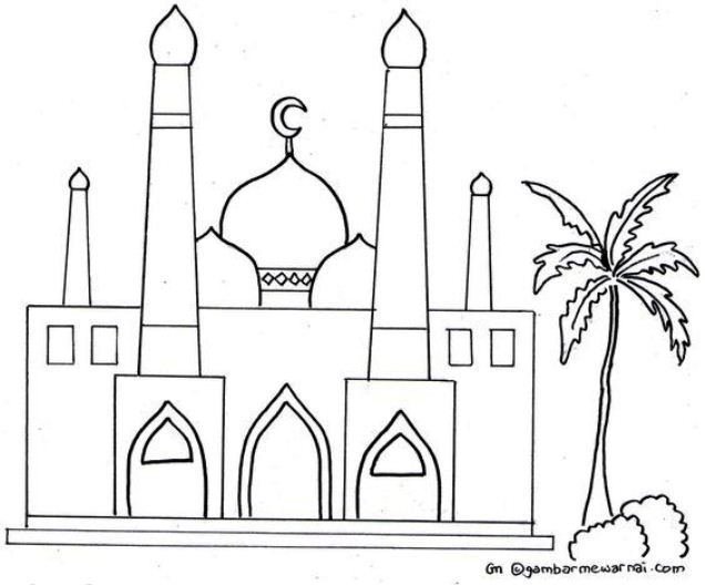 Gambar Sketsa Mewarnai Masjid Terbaru