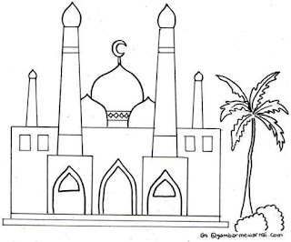 Gambar Sketsa Mewarnai Masjid Terbaru 201703