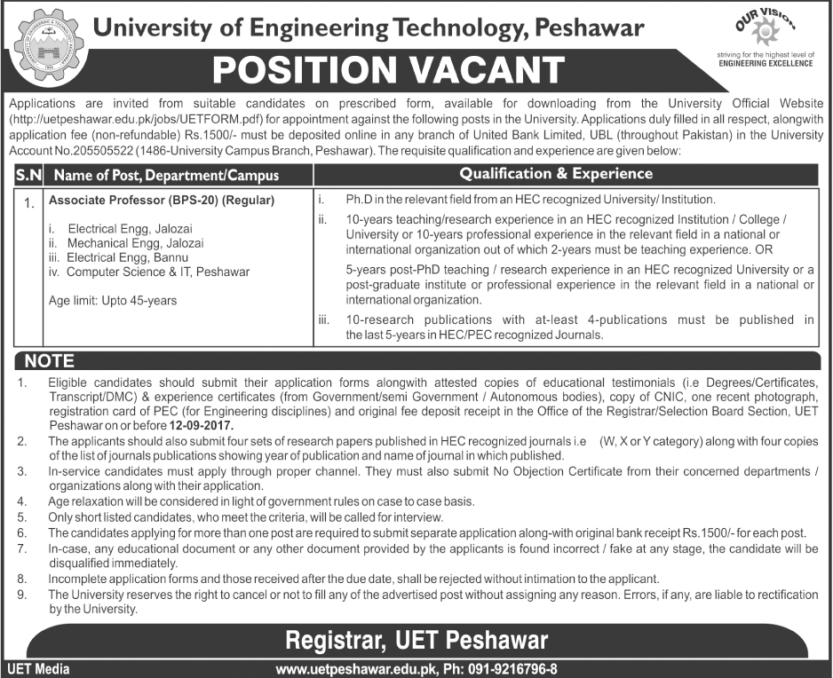 Peshawar job in University Of Engineering And Technology UET Aug 2017