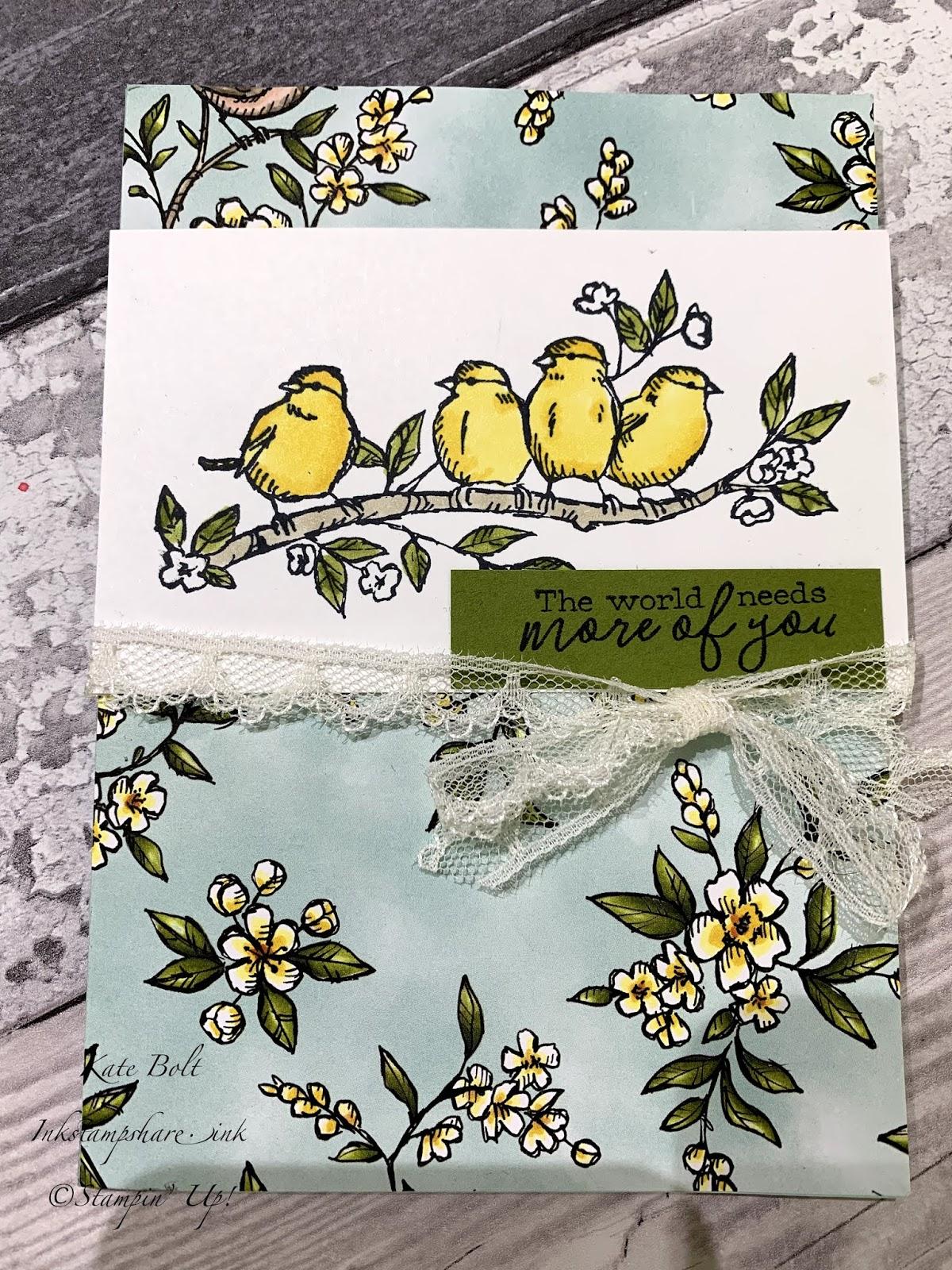Free As A Bird card, Bird Ballad Suite, Stampin Up coordinates with Hugs From Shelli paper Pumpkin Kit