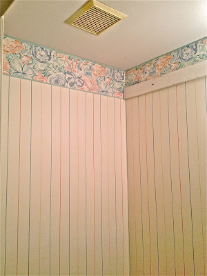 Guest Bathroom Wainscoting over Wallpaper | Ocean Front Shack