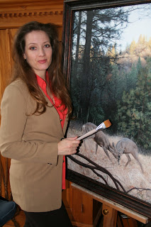 Barbara Ivie Green with painting of the Challenge