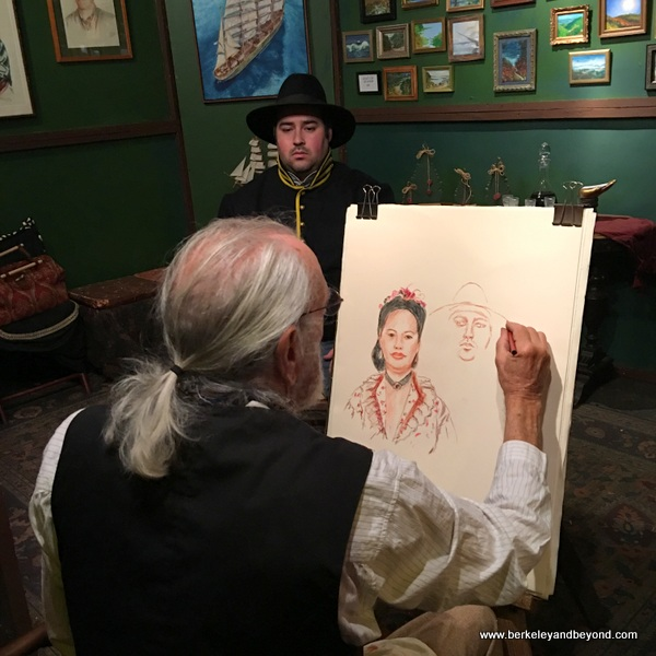 portrait painter at The Great Dickens Christmas Fair in San Francisco