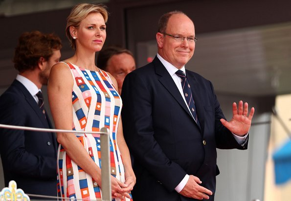 Princess Charlene wore AKRIS sleeveless colorful silk spring summer dress. Princess Charlene wore Jimmy Choo Red Suede Pointy Toe Pumps