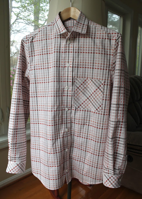 A pink and white plaid men's shirt made using the Thread Theory Fairfield Button-Up Shirt sewing pattern.