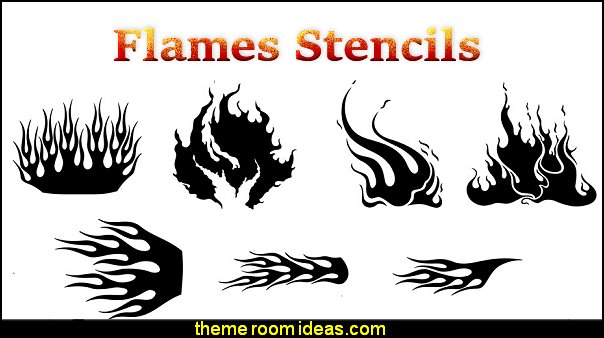 flames wall stencils flames bedroom decorations