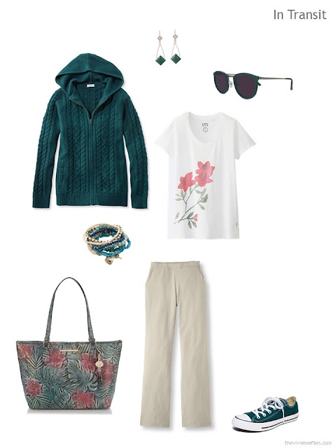 travel outfit in teal, khaki and white