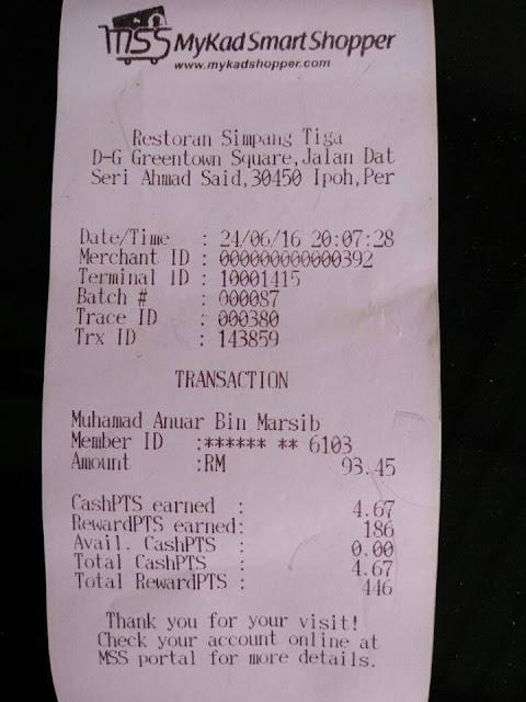 Resit Bukti perbelanjaan dengan menggunakan Mykad di Buffet Ramadhan di restoran Simpang Tiga Ipoh