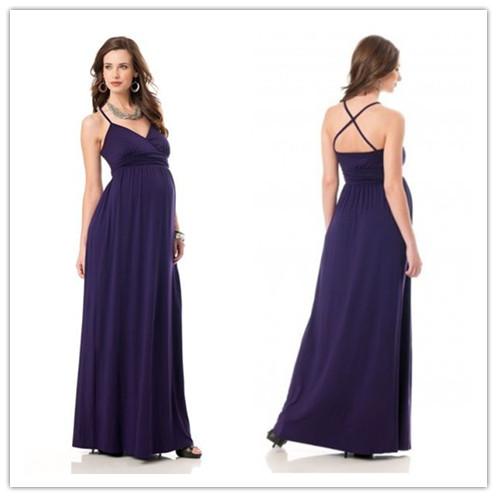 5771f29a754a5 Chiffon Spaghetti Straps V-neck Empire A-line Long Maternity Bridesmaid  Dress