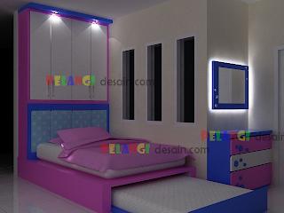 kitchenset pelangi desain interior tempat tidur anak tingkat