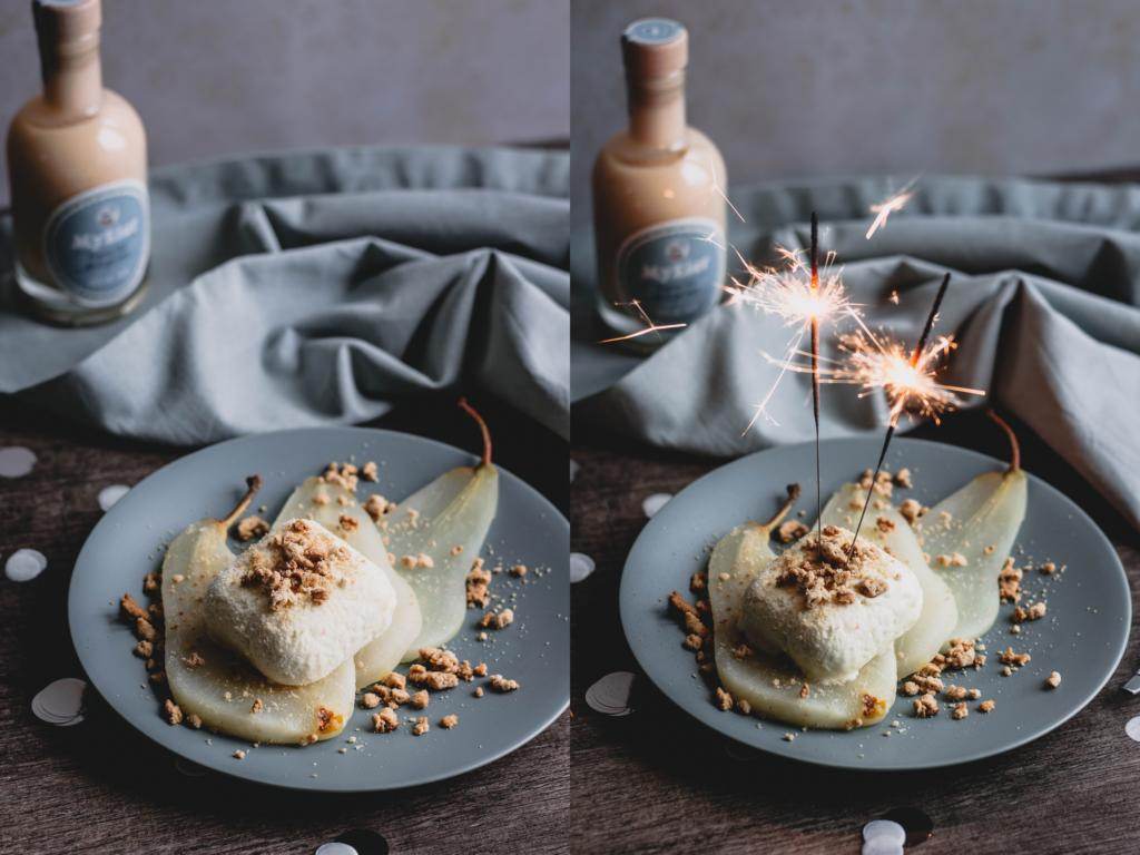 Das Dessert angerichtet auf einem Teller