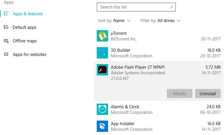 Uninstall apps in Windows 10