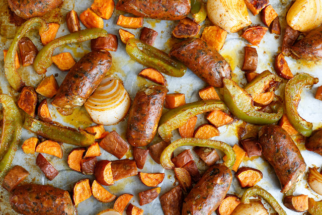 Sheet Pan Roasted Sausage with Sweet Potatoes and Peppers - recipe at barefeetinthekitchen.com