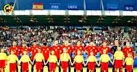 SELECCIÓN DE ESPAÑA SUB 21 - Temporada 2016-17 - Sandro, Jonny, Marco Asensio, Ceballos, Saúl, Marcos Llorente, Vallejo, Meré, Bellerín, Kepa y Deulofeu - SELECCIÓN DE ESPAÑA SUB 21 3 (Sául Ñíguez 3) SELECCIÓN DE ITALIA SUB 21 1 (Bernardeschi) - 27/06/2017 - Campeonato de Europa Sub 21, semifinal - Cracovia, Polonia, Krakow Stadium - Los jugadores españoles mientras suenan los himnos de ambos países