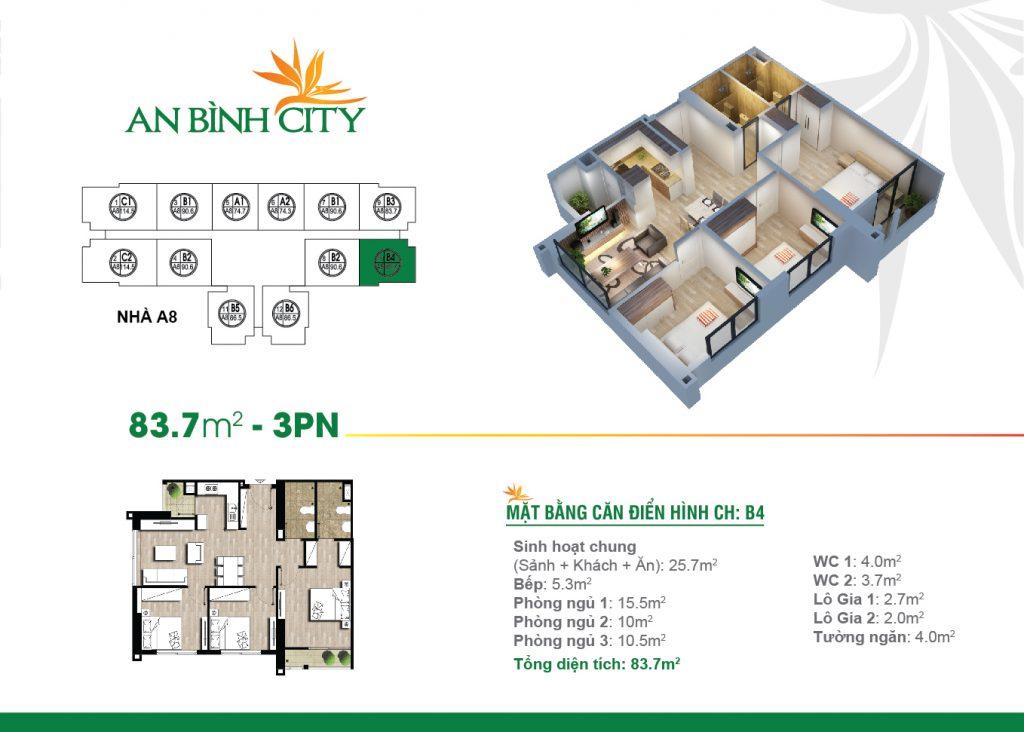 Căn hộ diện tích 83 m2 tại chung cư An bình City