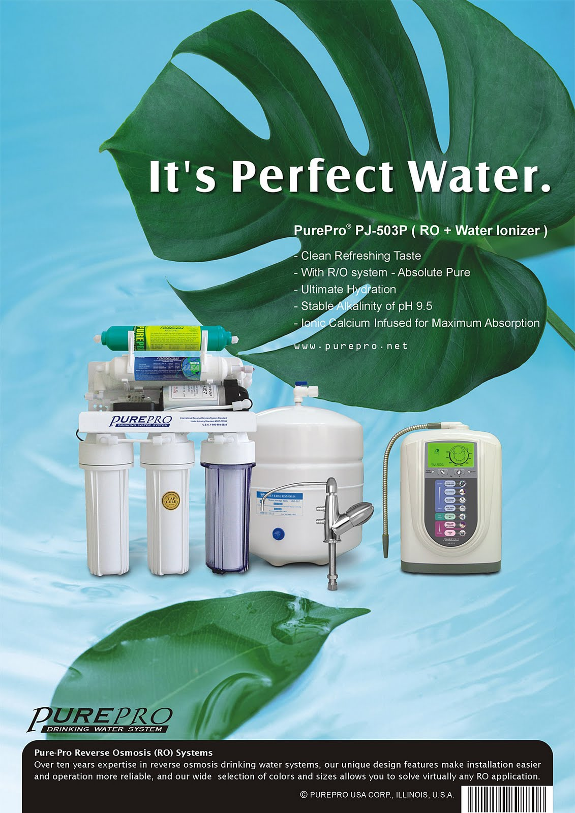 PurePro Perfect Water PJ-503P  Reverse Osmosis + Water Ionizer Water Filtration System