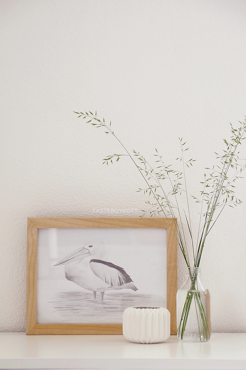 DIY self made drawing in Ikea frame as scandinavian style decoration