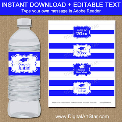 royal blue and white graduation paty decor with editable text