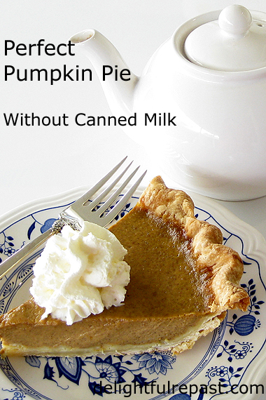 Perfect Pumpkin Pie - Without Canned Milk - secrets to perfectly smooth custard and perfectly flaky--no soggy bottoms!--crust (this photo - slice of pie and a teapot) / www.delightfulrepast.com