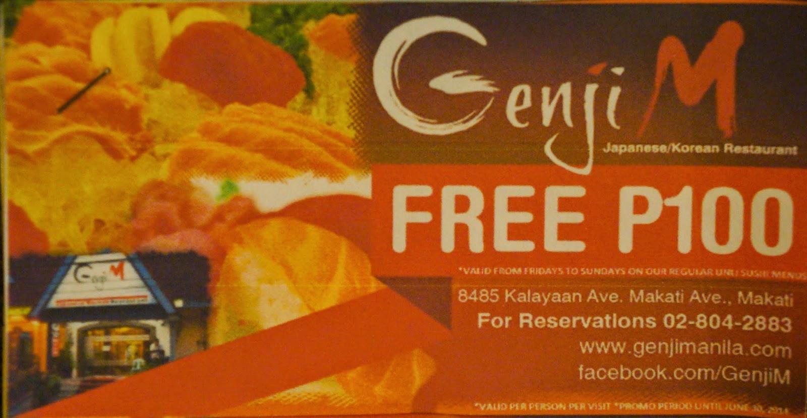 genji m dinner promo coupons