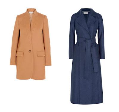 Приталенное пальто и синее пальто с широким поясом