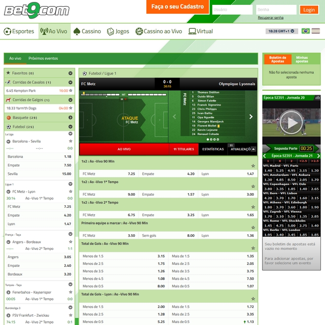 Bet9 Live Betting Screen