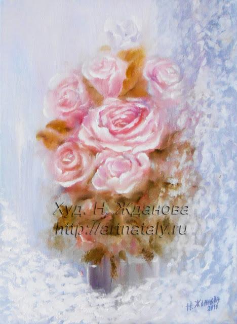 Натюрморт букет с цветами Розы
