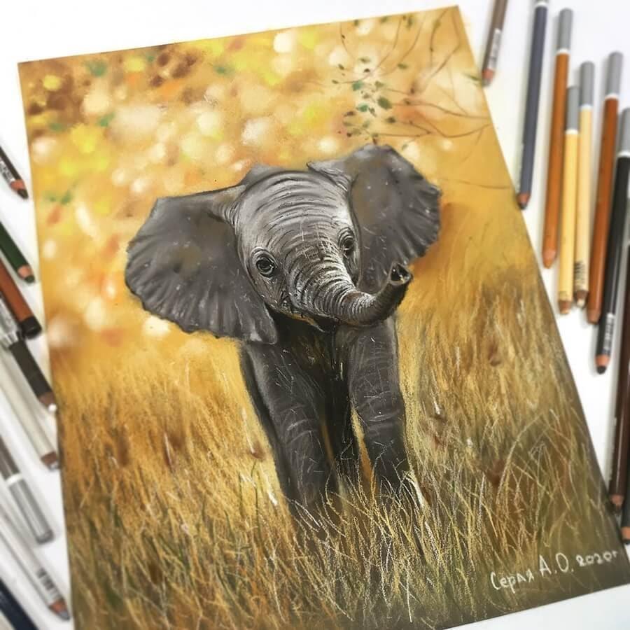 04-Baby-Elephant-Cute-Animals-Анастасия-Серая-www-designstack-co