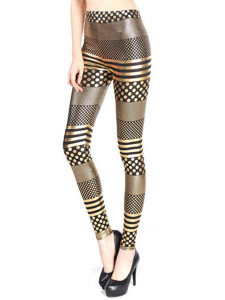 Polka dot golden leggings