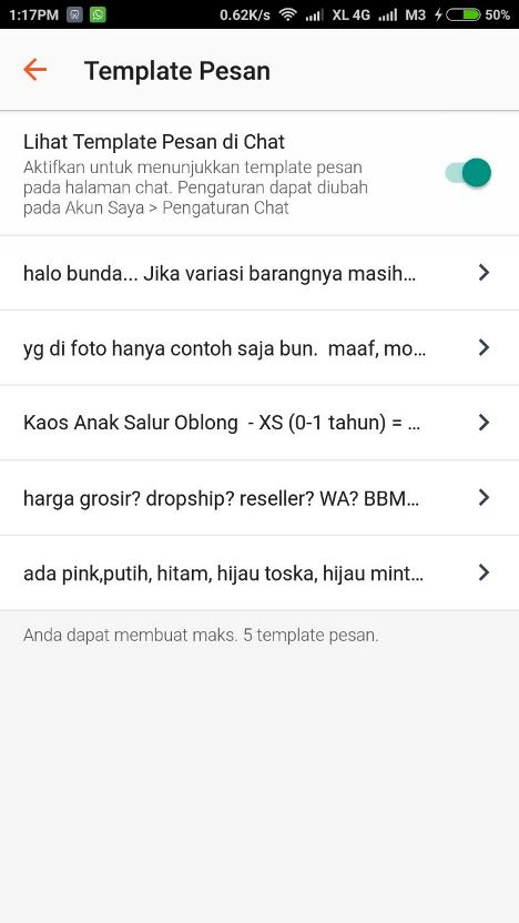 fitur template pesan Shopee