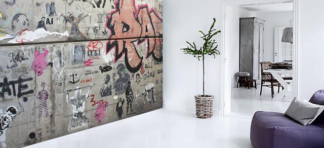Graffiti tapet Graffiti  grå tapet klotter ungdomsrum