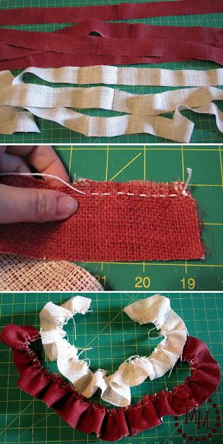 cutting fabric for burlap and denim ruffled patriotic wreath