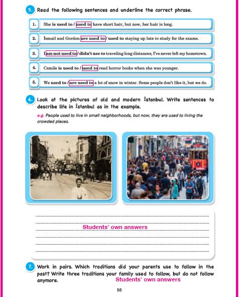 11. Sınıf Cem Veb Ofset Yayınları İngilizce Sunshine Çalışma Kitabı 56. Sayfa Cevapları Theme 10 Habits: Now And Then