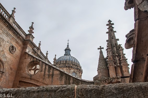 Vista desde la torres medievales catedral vieja de Salamanca