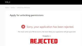 Unlock bootloader rejected Mi Unlock Tool