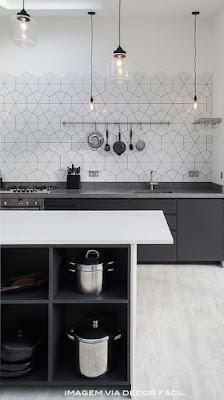 decoração preto e branco para cozinha