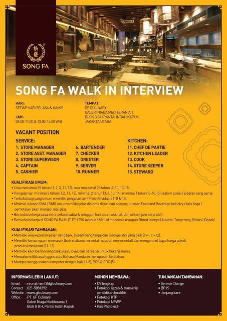 lowongan kerja SONG FA Jakarta Utara
