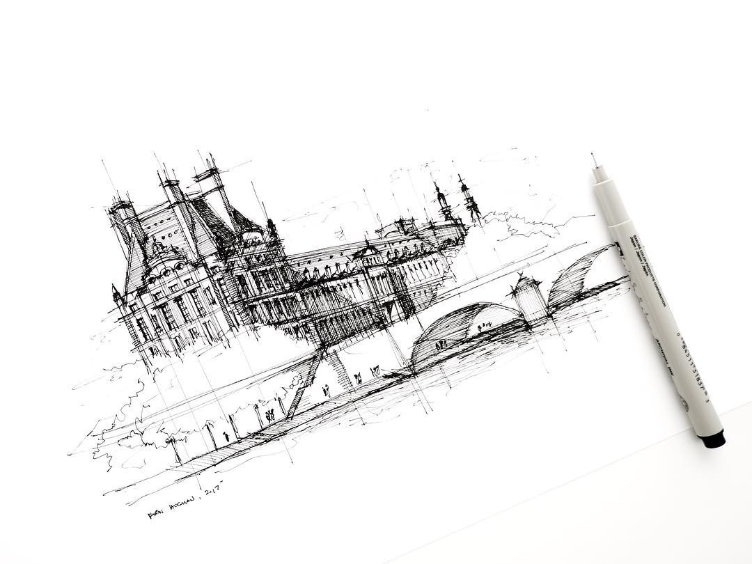 10-Pavillon-de-Flore-Dan-Hogman-Urban-Sketches-of-Paris-in-France-www-designstack-co