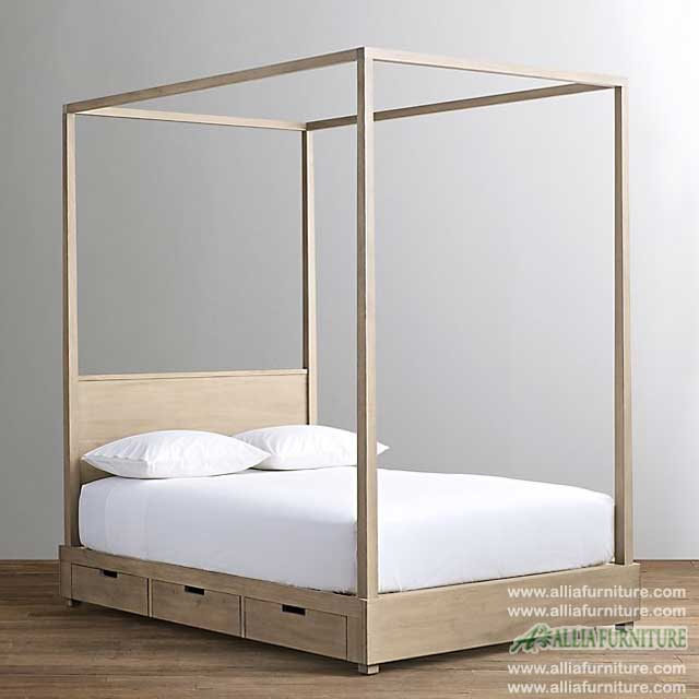 tempat tidur kanopi minimalis laci kuta