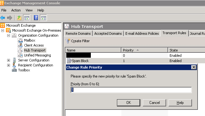 how to block / delete email using Transport rule on Exchange